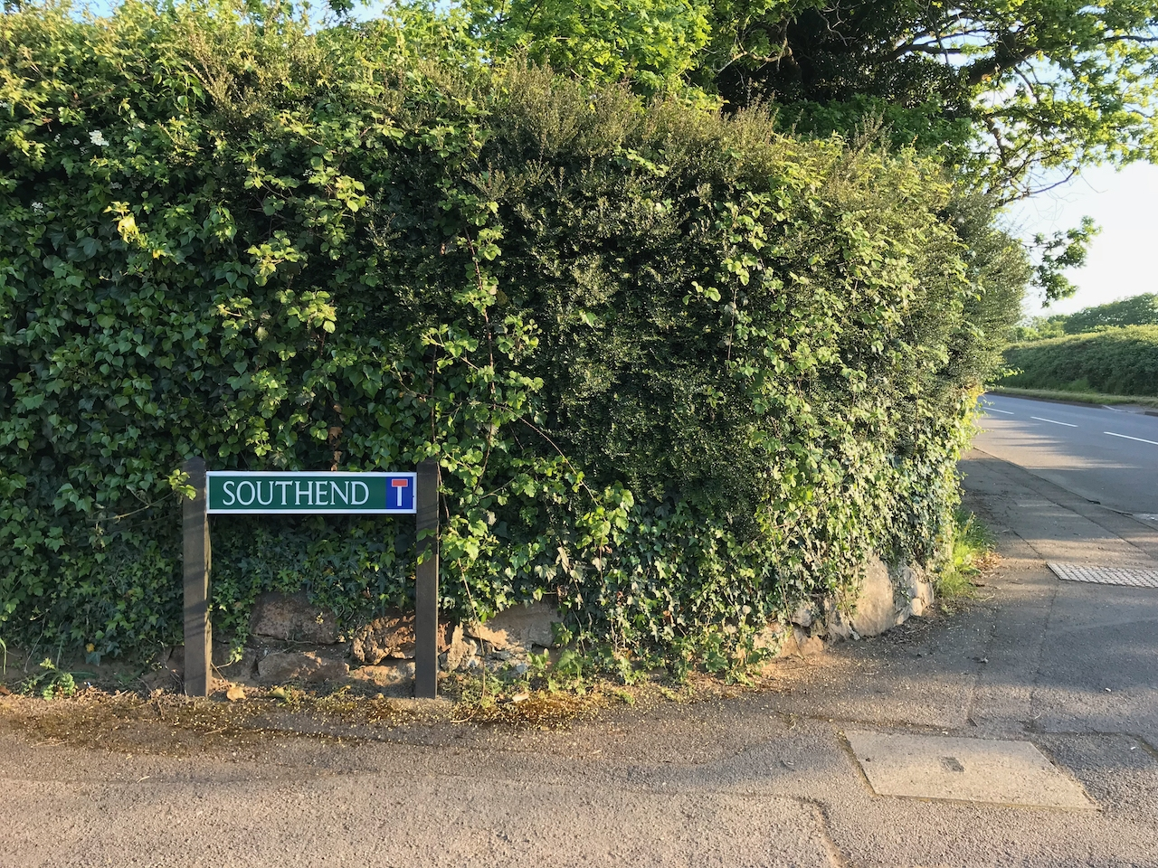 "A street sign reading ""Southend"" sits in front of a hedge."