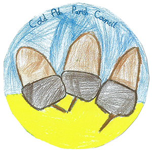 The Parish Council logo. It is a circular child's drawing showing three brown acorns with a blue upper background and a yellow lower background.
