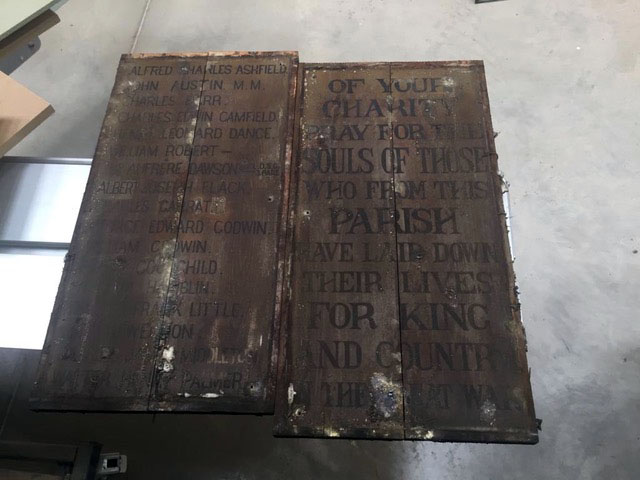Cold Ash War Memorial - Original painted timber name panels