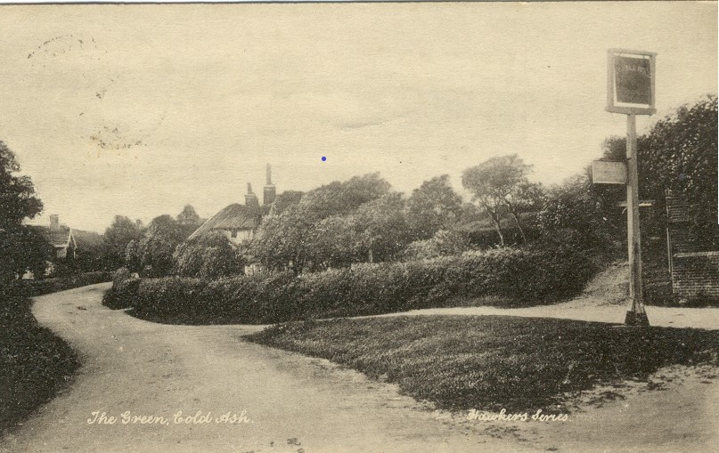 Cold Ash 'The Green', junction of Gladstone Lane and Cold Ash Hill c.1920's.
