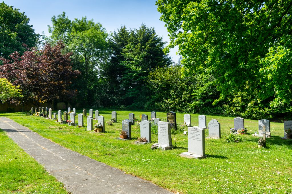 A grass lawn with Gravestones, surrounded by mature trees.