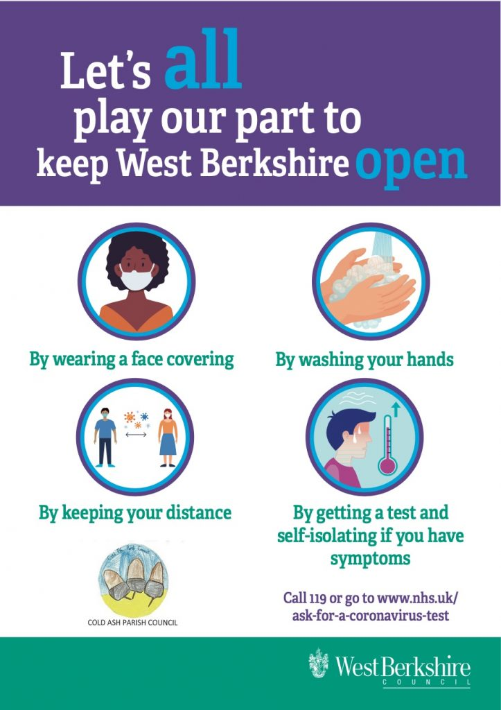 West Berkshire Council Poster advocating face masks, hand washing, social distancing and testing.