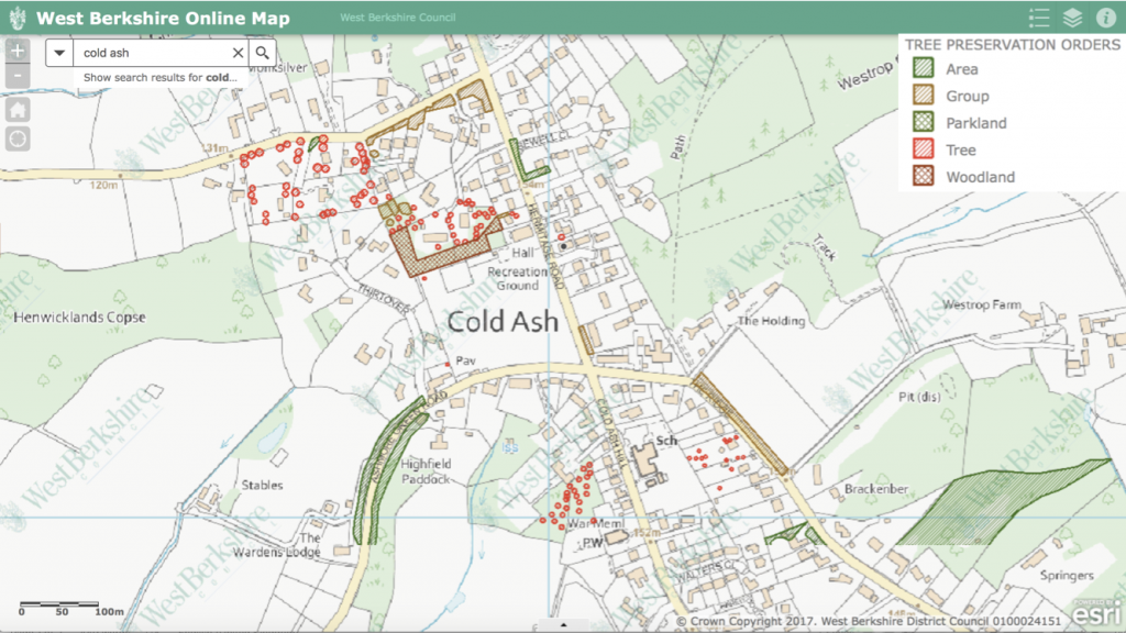A map showing the tree protection orders in Cold Ash